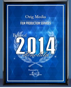 Orig Media 2014 Best of Honolulu Award Plaque